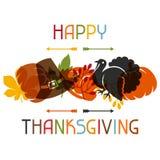 Diseño de tarjeta feliz del día de la acción de gracias con día de fiesta Foto de archivo