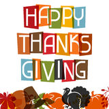 Diseño de tarjeta feliz del día de la acción de gracias con día de fiesta Foto de archivo libre de regalías