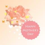 Diseño de tarjeta feliz del día de madres con formas de la mariposa y del corazón Imagenes de archivo