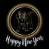 Diseño de tarjeta festivo chino del vector del Año Nuevo 2018 con el perro lindo, símbolo del zodiaco de la traducción de 2018 añ Imagen de archivo