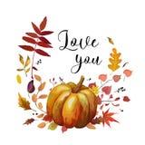 Diseño de tarjeta floral del otoño del estilo de la acuarela del vector: Pumpki anaranjado Fotografía de archivo libre de regalías