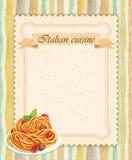 Diseño de tarjeta italiano del menú del restaurante de la cocina en estilo del vintage Imagen de archivo libre de regalías