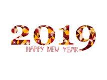 Diseño de tarjeta de la Feliz Año Nuevo 2019 Imagen de archivo libre de regalías