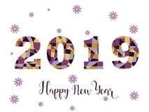 Diseño de tarjeta de la Feliz Año Nuevo 2019 Color de moda Imagen de archivo libre de regalías