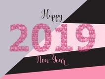 Diseño de tarjeta de la Feliz Año Nuevo 2019 Color de moda Imágenes de archivo libres de regalías