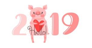 Diseño de tarjeta de la Feliz Año Nuevo 2019 El ejemplo del vector con 2019 números y el cerdo dulce saluda con amor Figuras y foto de archivo
