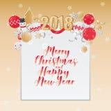 Diseño de tarjeta de la Feliz Navidad Plantilla de la tarjeta de Navidad del saludo en fondo del oro stock de ilustración