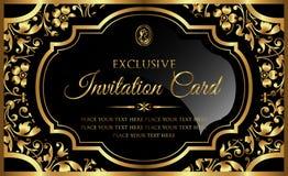 Diseño de tarjeta de la invitación - estilo de lujo del vintage del negro y del oro Fotos de archivo libres de regalías