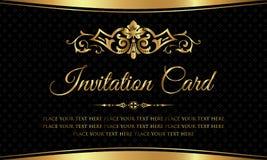 Diseño de tarjeta de la invitación - estilo de lujo del vintage del negro y del oro Imágenes de archivo libres de regalías
