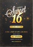 Diseño de tarjeta de la invitación para el partido del dulce 16 libre illustration