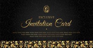 Diseño de tarjeta de lujo de la invitación del negro y del oro - estilo del vintage Imagen de archivo libre de regalías