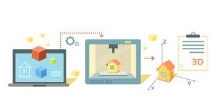 Diseño de Technology Icon Flat de la impresora Imagenes de archivo