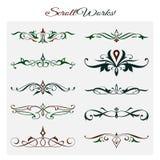 Diseño de trabajos de la voluta, elementos decorativos ornamentales libre illustration