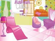 Diseño de un gabinete de señora femenino Vector de Bathroom Sitio de las mujeres s stock de ilustración