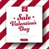 Diseño de una bandera cuadrada para la venta el día del ` s de la tarjeta del día de San Valentín stock de ilustración