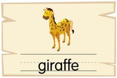 Diseño de Wordcard para la jirafa de la palabra Imágenes de archivo libres de regalías