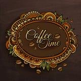 Diseño decorativo de la etiqueta de la frontera del tiempo del café stock de ilustración