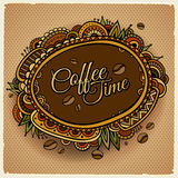 Diseño decorativo de la etiqueta de la frontera del tiempo del café libre illustration
