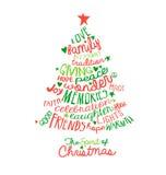 Diseño del árbol de la nube de la palabra de la tarjeta de Navidad Imagen de archivo libre de regalías
