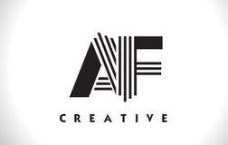 Diseño del AF Logo Letter With Black Lines Línea vector Illus de la letra Fotos de archivo libres de regalías