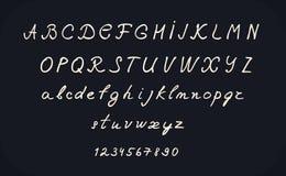 Diseño del alfabeto de las letras de la mano, ejemplo, mayúscula y minúscula cursivos del vector de la fuente de la caligrafía ma Foto de archivo libre de regalías