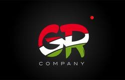 Diseño del alfabeto del icono de la combinación del logotipo de la letra del alfabeto de GR G R Fotos de archivo libres de regalías