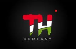 Diseño del alfabeto del icono de la combinación del logotipo de la letra del alfabeto del TH T H Imagen de archivo