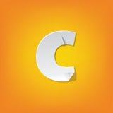 Diseño del alfabeto inglés del doblez de la letra minúscula de C nuevo Fotografía de archivo libre de regalías