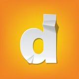 Diseño del alfabeto inglés del doblez de la letra minúscula de D nuevo Fotografía de archivo