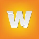 Diseño del alfabeto inglés del doblez de la letra minúscula de W nuevo Fotos de archivo