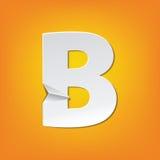 Diseño del alfabeto inglés del doblez de la mayúscula de B nuevo Imagen de archivo libre de regalías