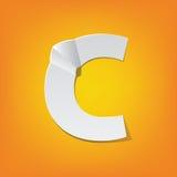 Diseño del alfabeto inglés del doblez de la mayúscula de C nuevo Imágenes de archivo libres de regalías