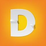 Diseño del alfabeto inglés del doblez de la mayúscula de D nuevo Fotografía de archivo libre de regalías