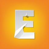 Diseño del alfabeto inglés del doblez de la mayúscula de E nuevo Imagen de archivo libre de regalías