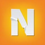 Diseño del alfabeto inglés del doblez de la mayúscula de N nuevo imágenes de archivo libres de regalías