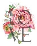 Diseño del amor Tarjeta de felicitación del día de tarjetas del día de San Valentín Ejemplo color de rosa de las flores de la acu stock de ilustración