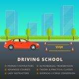 Diseño del anuncio de la bandera del web de la escuela de conducción Clase del conductor de coche stock de ilustración