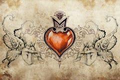 Diseño del arte del tatuaje, corazón con dos ninfas Imagen de archivo libre de regalías