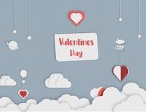 Diseño del arte del estilo del papel de día de San Valentín Globo y nubes del corazón Día encantador Ilustración libre illustration