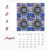Diseño 2018 del aviador de la plantilla del calendario de escritorio Azulejos decorativos Foto de archivo libre de regalías