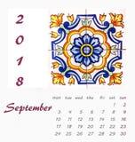 Diseño 2018 del aviador de la plantilla del calendario de escritorio Azulejos decorativos Imagenes de archivo
