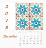 Diseño 2018 del aviador de la plantilla del calendario de escritorio Azulejos decorativos Imagen de archivo