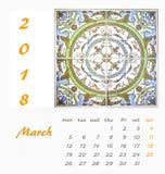 Diseño 2018 del aviador de la plantilla del calendario de escritorio Azulejos decorativos Foto de archivo
