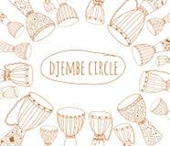Diseño del aviador del garabato del círculo de Djembe Imagenes de archivo