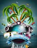 Diseño del aviador del partido de la playa del verano del vector con la bola de discoteca Foto de archivo