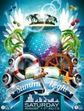 Diseño del aviador del partido de la playa del verano del vector con la bola de discoteca Imágenes de archivo libres de regalías