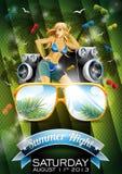 Diseño del aviador del partido de la playa del verano del vector con la muchacha atractiva Fotos de archivo