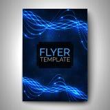 Diseño del aviador del vector Líneas brillantes remolino en fondo oscuro Imágenes de archivo libres de regalías