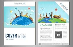 Diseño del aviador del viaje con las señales famosas del mundo Título del folleto para el viaje y el turismo Vector ilustración del vector