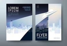 Diseño del aviador del folleto del informe anual Vector, fondo plano del extracto de la presentación del prospecto, plantillas de fotografía de archivo